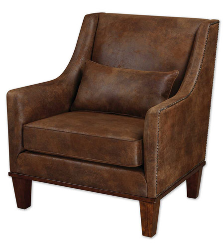 Uttermost 23030 Clay Faux Tanned Leather Fabric Armchair Home Decor photo