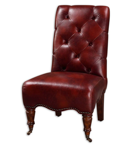 Uttermost Samhain Armless Chair in Durable Autumn Brown Faux Leather 23032 photo