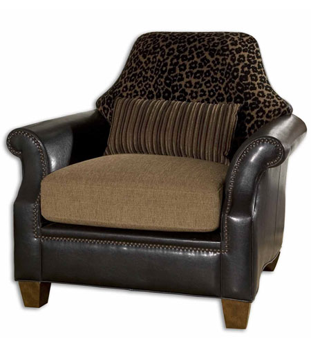 Uttermost Aarika Armchair in Golden Brown And Black Animal Print 23043 photo