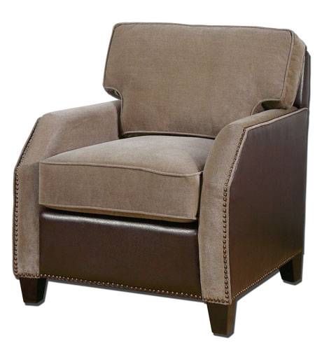 Uttermost 23058 Dillard Granite Velvet and Chocolate Brown Faux Leather Armchair photo