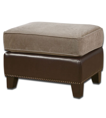 Uttermost Dillard Ottoman in Chocolate Brown Faux Leather 23059 photo