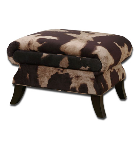 Uttermost Jerzy Ottoman in Dark Saddle and Light Buff Velvet 23061 photo