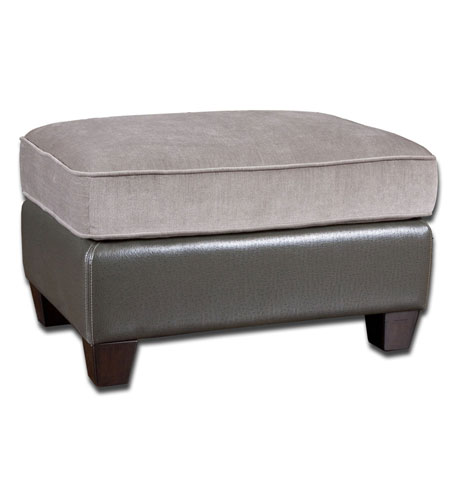 Uttermost 23068 Milton 19 inch Stormy Gray Velvet and Slate Faux Ostrich Ottoman