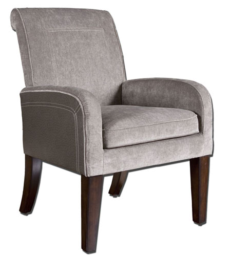 Uttermost 23069 Milton Stormy Gray Velvet and Slate Faux Ostrich Accent Chair