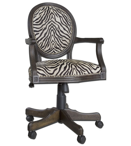 Uttermost Yalena Desk Chair in Distressed Black 23077 photo