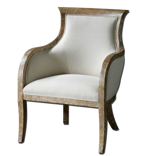 Uttermost Quintus Armchair in Almond Stained Distressed White Mahogany 23080 photo