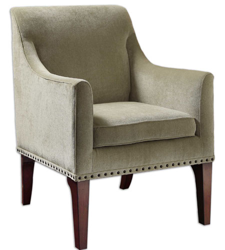 Uttermost Marik Fabric Arm Chair in Dark Walnut 23088 photo