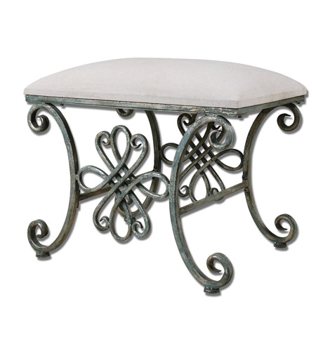 Uttermost Yvanna Small Bench in Oxidized Silver 23118 photo