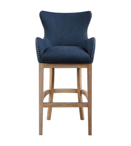 Astounding Uttermost 23317 Barton 44 Inch Denim Blue Whitewash Ash Bar Stool Creativecarmelina Interior Chair Design Creativecarmelinacom