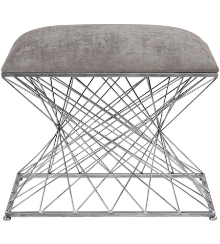 Groovy Uttermost 23410 Zelia 16 Inch Stony Gray Chenille Fabric And Burnished Silver Accent Stool Caraccident5 Cool Chair Designs And Ideas Caraccident5Info