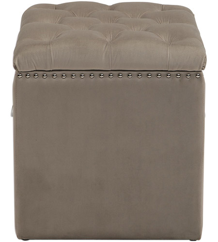 Uttermost 23455 Talullah 19 inch Champagne Velvet and Polished Nickel Storage Ottoman 23455_A.jpg