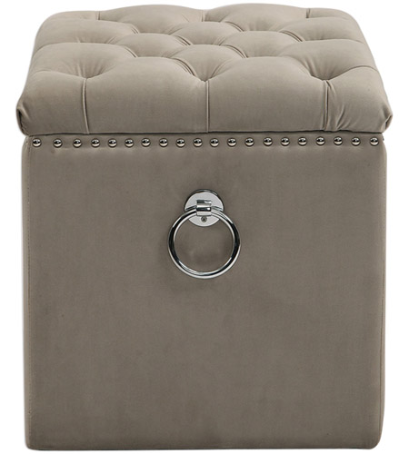 Uttermost 23455 Talullah 19 inch Champagne Velvet and Polished Nickel Storage Ottoman 23455_A1.jpg