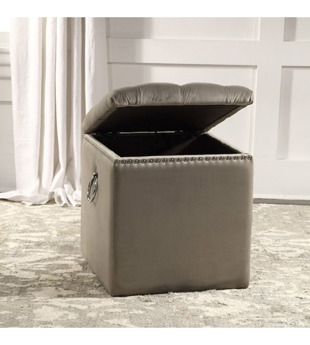 Uttermost 23455 Talullah 19 inch Champagne Velvet and Polished Nickel Storage Ottoman 23455_A3.jpg