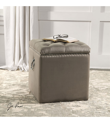 Uttermost 23455 Talullah 19 inch Champagne Velvet and Polished Nickel Storage Ottoman 23455_Lifestyle.jpg