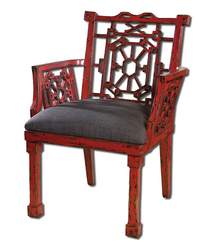 Uttermost Camdon Red Armchair in Antique Red 23604 photo