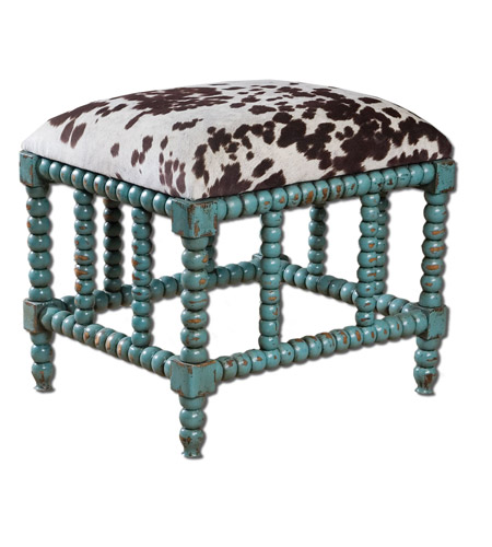 Uttermost Chahna Small Bench in Aqua Blue 23605 photo