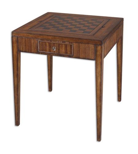 Uttermost Eli Game Table in Rich Honey-Toned Zebra Wood 24088 photo