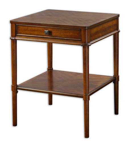 Uttermost 24192 Prospero 25 X 20 inch Warm Brown Cherry Veneer End Table