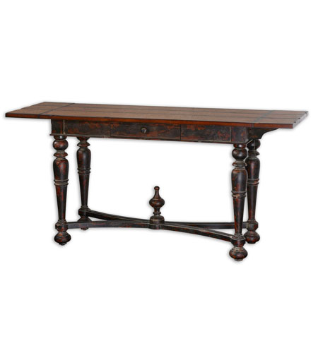 Uttermost 24201 Burhan 64 Inch Dusty Antiqued Black Console Table