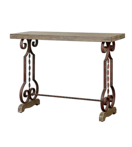 Uttermost 24219 Reece 45 inch Distressed Burnt Ivory Console Table