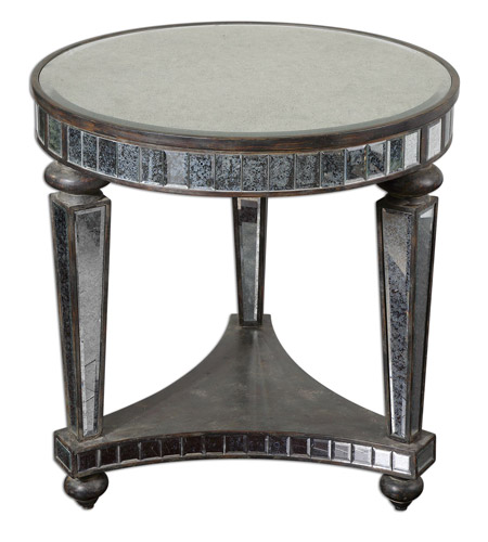Uttermost Sinley Accent Table in Distessed Ebony Stained Wood 24235 photo