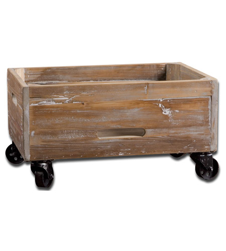 Uttermost 24247 Stratford Reclaimed Fir Wood with Light Gray Wash Rolling Box photo