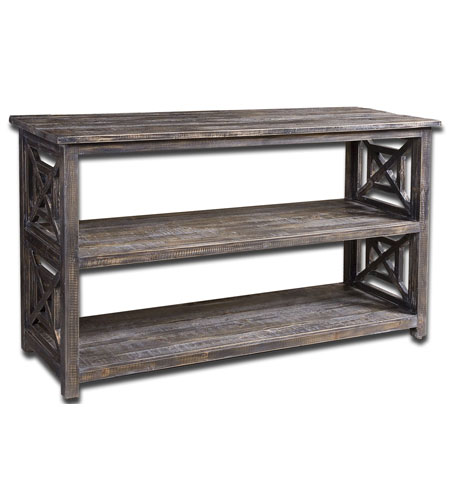 Uttermost 24249 Spiro 52 inch Brushed Black Reclaimed Fir Wood Console Table photo