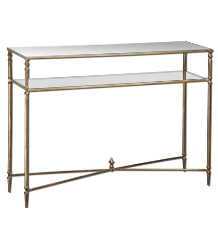 Uttermost Henzler Console Table in Antiqued Gold Leaf 24278 photo