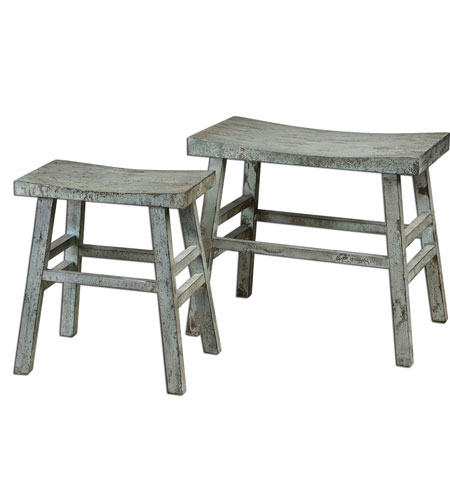 Uttermost Scout Benches Set of 2 in Rustic Sage 24285 photo
