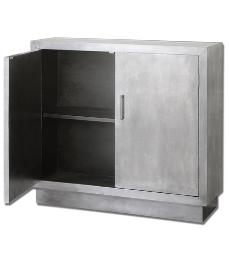 Uttermost Martel Modern Console Cabinet in Aluminum Clad 24308 photo