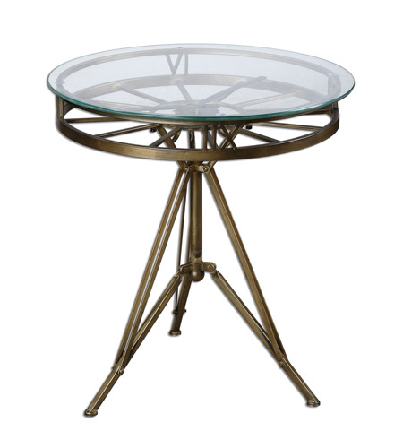 Uttermost 24398 Tevi 22 X 21 inch Brass Clock Table