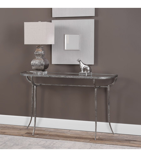 Uttermost 24691 Nakoda 52 X 14 inch Forged Iron/Burnished Silver Console Table 24691-A3.jpg
