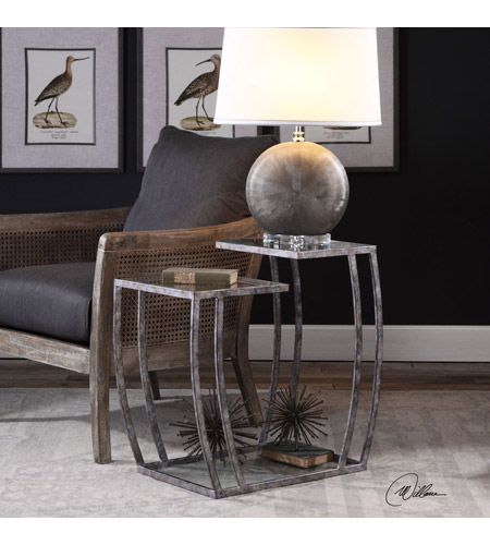 Uttermost 24722 Teeranie 26 X 24 inch Burnished Silver End Table, Matthew Williams 24722_lifestyle.jpg