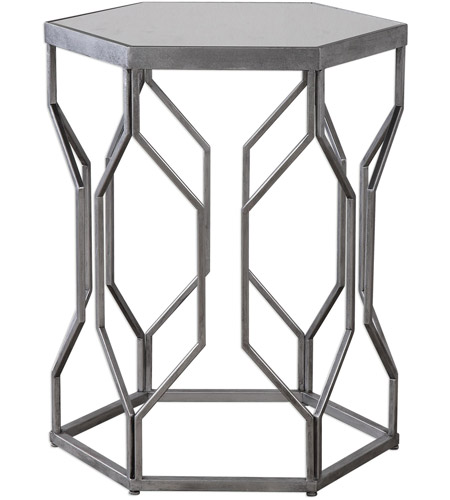 Uttermost 24742 Stellan 24 X 20 inch Silver Leaf with Gray Accent Table