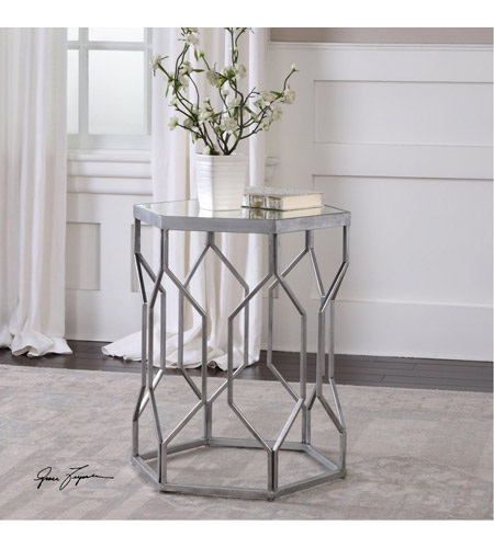 Uttermost 24742 Stellan 24 X 20 inch Silver Leaf with Gray Accent Table 24742_ls.jpg
