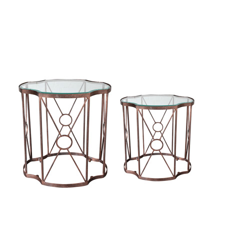 Uttermost 25019 Olavi 25 X 24 inch Antiqued Gold Leaf Accent Tables