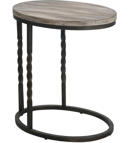 Uttermost 25320 Tauret 23 X 20 inch Textured Aged Steel and Weathered Ivory Side Table