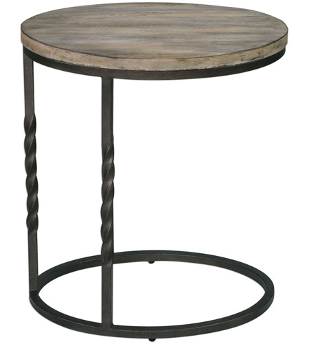 Uttermost 25320 Tauret 23 X 20 inch Textured Aged Steel and Weathered Ivory Side Table 25320_A.jpg