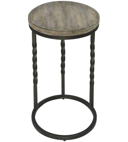 Uttermost 25320 Tauret 23 X 20 inch Textured Aged Steel and Weathered Ivory Side Table 25320_A1.jpg