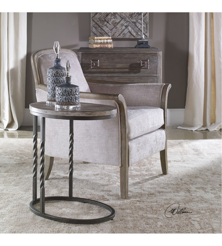 Uttermost 25320 Tauret 23 X 20 inch Textured Aged Steel and Weathered Ivory Side Table 25320_Lifestyle.jpg