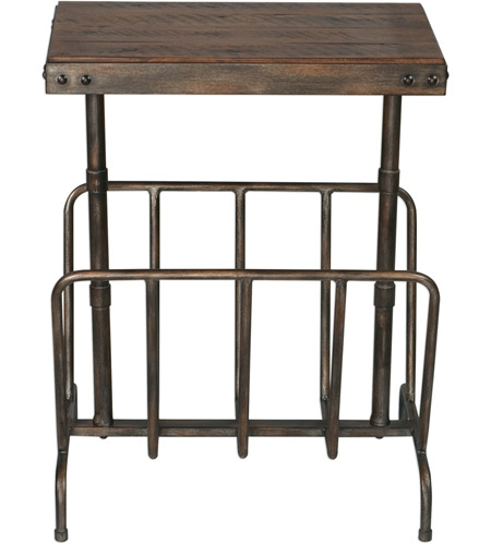 Uttermost 25326 Sonora 26 X 17 inch Burnished Brushed Iron and Distressed Warm Walnut Magazine Side Table