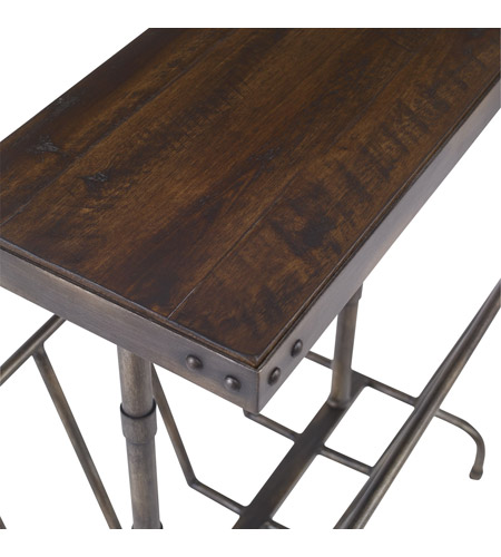 Uttermost 25326 Sonora 26 X 17 inch Burnished Brushed Iron and Distressed Warm Walnut Magazine Side Table 25326_A2.jpg