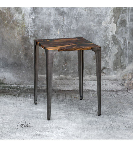 Uttermost 25411 Mira 24 X 19 inch Acacia Wood with Smooth Black Resin and Aged Steel Side Table 25411_Lifestyle.jpg