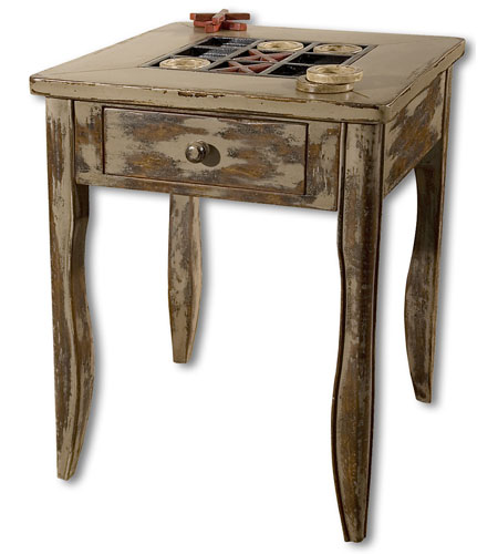 Uttermost Tictactoe End Table in Handpainted Solid Mango Wood 25536 photo