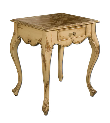 Uttermost Avril End Table in Distressed Glazed Almond 25537 photo