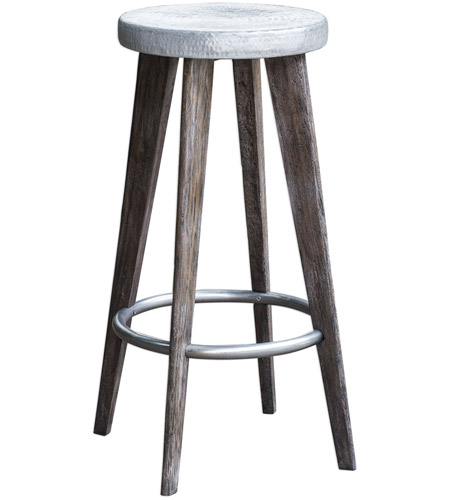 Stupendous Uttermost 25830 Maxen 32 Inch Dark Driftwood Gray And Aged Pewter Bar Stool Cjindustries Chair Design For Home Cjindustriesco