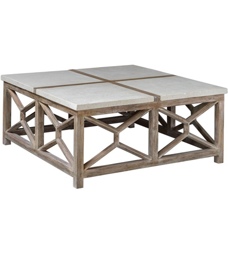 Uttermost 25885 Catali 40 X 18 Inch Natural Ivory Limestone And Oatmeal Washed Wood Coffee Table