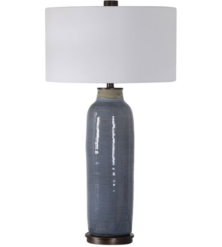 Uttermost 26009 Vicente 34 inch 150 watt Slate Blue Glaze with Oil Rubbed Bronze Accents Table Lamp Portable Light 26009_A.jpg