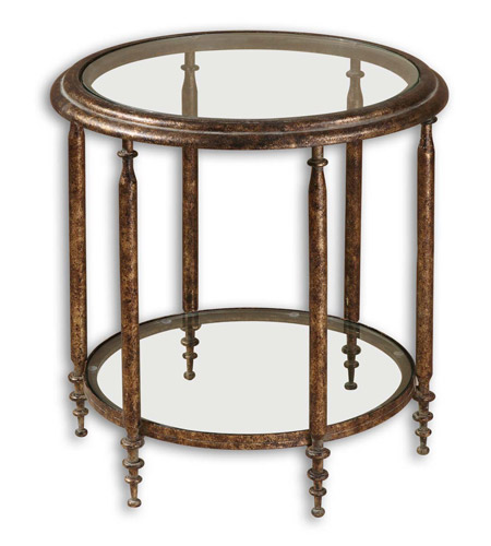 Uttermost Leilani Accent Table in Antique Gold Mottled 26011 photo