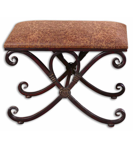 Uttermost Manoj Dark Coffee Brown Metal Work Small Bench - Small metal work table